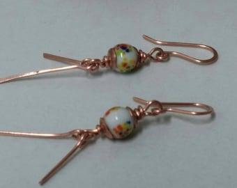 Copper earrings, colorful dangle earrings, 1950 Japanese glass earrings, copper dangle earrings, metalsmith earrings, long earrings