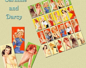 Pin up girl digital collage sheet, 1 x 2 domino, tiles, digital download!