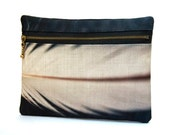 Clutch purse, zipper bag, iPhone pouch, black and white, FEATHER