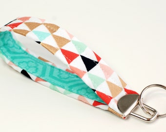 "Trendy Tribal Fabric 5"" Key Fob Wristlet - Cotton Fabric Wrist Key Loop -  Coral Gold Mint Black and Aqua Triangles with Mint Accent Fabric"