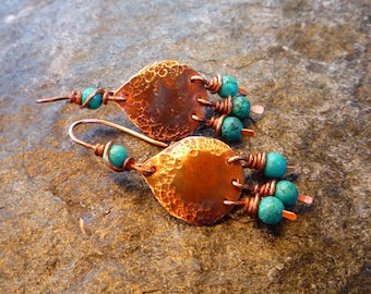 Small Moroccan earrings, Copper earrings, Turquoise earrings, Boho earrings, Ethnic jewelry, Hammered copper, Small dangle earrings, Gypsy
