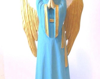 Christmas Sale Wooden Angel  Wood Carved Angel Angel Statue Angel Figurine