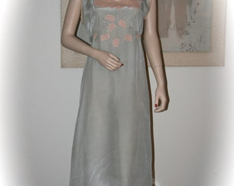 Beautiful 1930's Ice Blue Silk Night Gown, Creamy Beige Lace Trim, Hollywood Glamour, Pin-Up Model, Photo Shoot, Bridal Trousseau