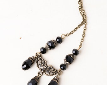 Gothic/Victorian Filigree Black Crystal Pendant Necklace with Antique Bronze Chain