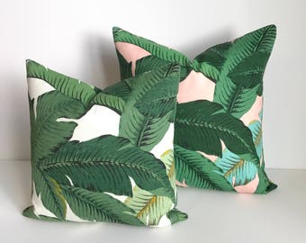 Green palm leaf decorative pillow cover, tropical indoor/outdoor pillow cover