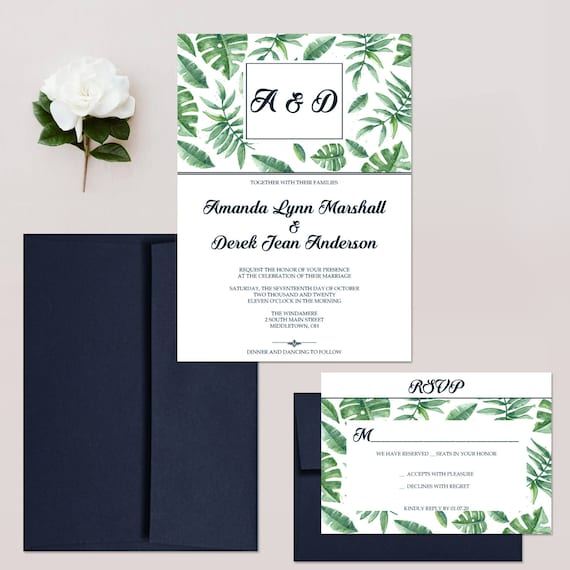 Navy And Green Wedding Invitations Tropical Invites