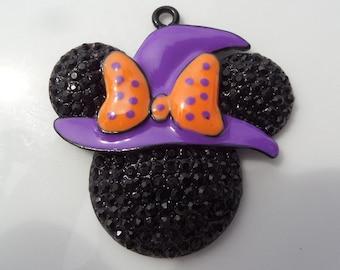 44mm*41mm, Black, Purple & Orange Witch, Mouse Pendant, P33