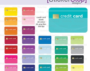 Blank Credit Card Digital Clipart - Instant download PNG files