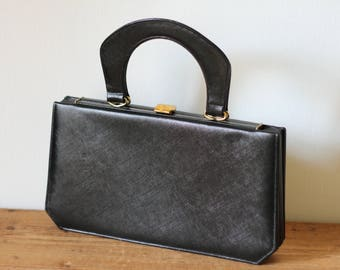 Vintage SUSAN GAIL Black Leather Accordion Handbag / 1950s Leather Accordion Purse / Vintage Satchel