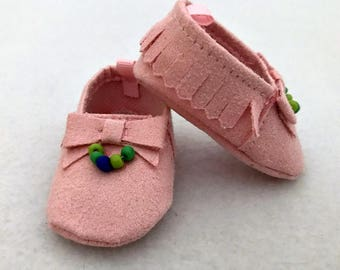 Pink Beaded Shoes for 15-16 inch Doll - Suede Moccasin Baby Doll Shoes - Shoes for Dolls - Pink Doll Shoes - Gifts for Girls - Toy for Girls