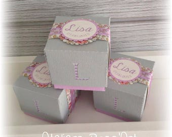 10 boxes - cube two-tone pattern floral custom perforation