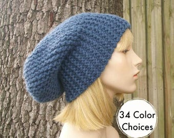 Knit Hat Womens Hat Blue Slouchy Beanie - Blue Slouchy Hat in Denim Blue Knit Hat - Blue Hat Blue Beanie Winter Hat -  34 Color Choices