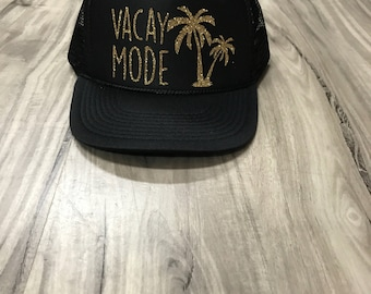Vacay Mode Palm Trees Glitter Trucker Hat Beach River Hawaii Tropical Vacation Vacay Mode Women's Palm Springs Vacation Trucker Hats