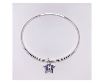 Sterling silver 925 personalised star bangle