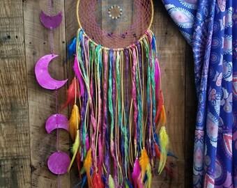 Dream Catcher // Rainbow // Sari Silk // Citrine // Carnelian // Chakra