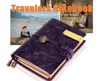 Purple Leather Journal Traveler Notebook daily planner Small Vintage Notebook Gift for Girl Travel Notebook Journal Blank Notebook