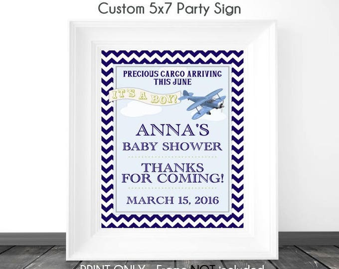 CUSTOM Aviation Baby Shower Sign, 5x7 Printable Sign, DIY Sign, Baby Shower or Wedding Shower