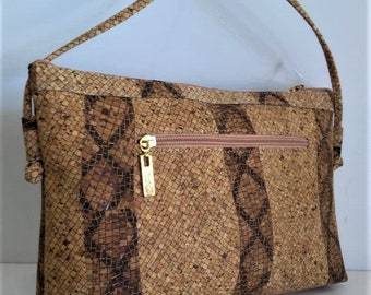 Sale Handbag Made in Cork with Design - Fine Cork Bag -  Natural Cork Purse - Eco Friendly Materials