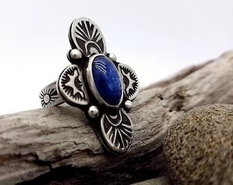Kyanite Ring Kyanite Jewelry Gemstone Ring Bohemian Jewelry Boho Ring Sterling Silver Stamped Ring Blue Stone Ring Statement Ring Size 7-3/4