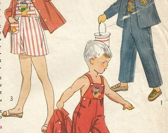 Vintage Simplicity 4059 Toddler Girls or Boys Overalls, Romper and Jacket Sewing Pattern with Embroidery Transfer Size 1