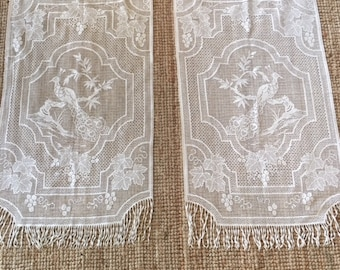 Two Charming Vintage Ivory Lace Curtains With A Delicate Bird Motif From A  French Country House