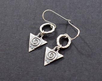 Handmade Earrings, Sterling Silver Earrings, Swirl Triangle Earrings, Silver Earrings, Swirl Earrings, Artisan Earrings,  E052