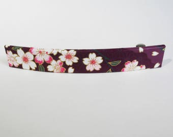 Cherry Blossoms French Barrette, Long Hair Clip, Large Chiyogami Barrette, Purple