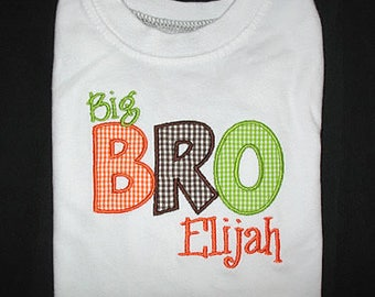 Custom Personalized Applique Big, Middle, or Little BROTHER and NAME Shirt or Bodysuit - Orange, Brown, and Lime Mini Gingham