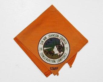 Vintage BSA 1972 Orange Neckerchief Native American Conservation Camporee Boy Scouts of America Bandana