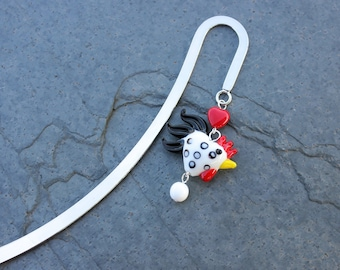 Chicken Love bookmark - heart shaped chicken on silver tone bookmark - great gift -Free Shipping USA - Black + White rooster or other colors