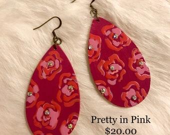 Pretty in Pink Handpainted Earrings