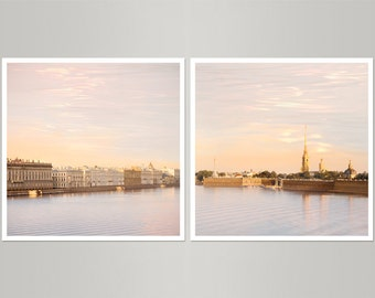 Pastel pink art Set of 2 prints, Minimalist art cityscape photography St Petersburg, ethereal large wall art, living room decor, 20x20 print