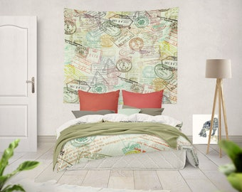 Travel Tapestry Large Tapestries Large Wall Tapestry Wall art Beige Tapestry travel Decor Wall Tapestry Art large wall decor wall hanging