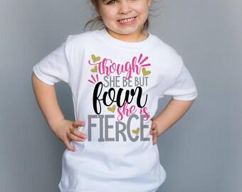 Four Fierce Birthday Top - 4 Birthday Shirt - 4 Birthday Girl - Four Year Old - Four Birthday Gift - 4th Birthday Outfit