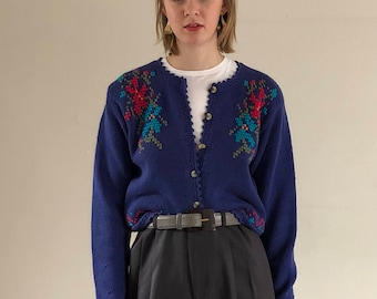 vintage cropped cardigan / folklore sweater / 90s sweater / embroidered cotton sweater | xs s