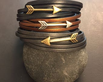 Metalic Leather and Arrow Wrap Bracelet - graphite, copper or gunmetal