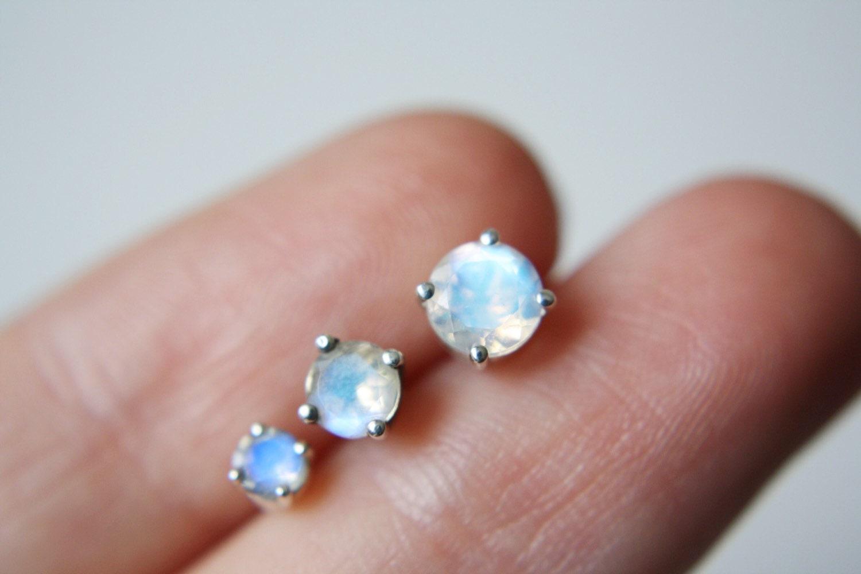 Moonstone Stud Earrings, 3mm Round Moonstone Studs, Faceted ...
