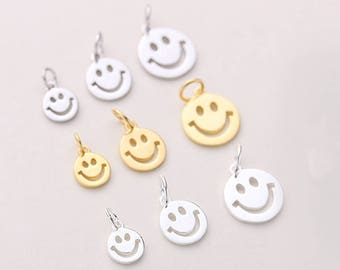 Smiley pendant etsy 5pcs 6mm8mm10mm sterling silver smiley face charm pendant smile charms aloadofball