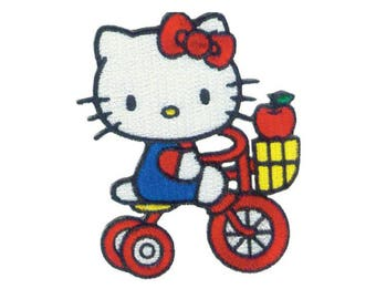 Hello Kitty Iron On Applique, Hello Kitty Iron On Patch, Tricycle Patch, Hello Kitty Applique, Cute Patch, Kids Patch, Embroidered Patch