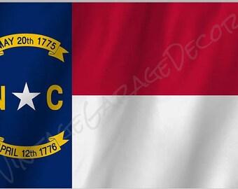 North Carolina State Flag on a Metal Sign