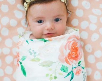 Organic cotton swaddle blanket in Secret Garden Floral, Coral, Peach, Blush and Cream Flowers