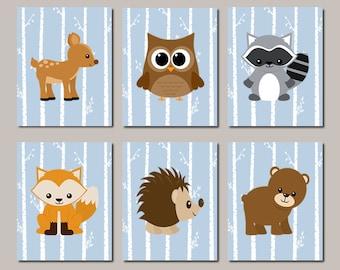 Woodland Nursery Wall Art, Prints Or Canvas, Woodland Animals, Woodland Baby Shower, Woodland Nursery Decor, Birch Tree, Blue Set of 6