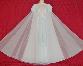 Stunning vintage Claire Sandra by Lucie Ann double chiffon pom pom peignoir and nightgown set