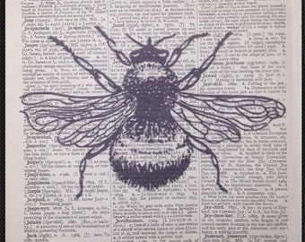 Vintage Bumble Bee Print Antique Vintage Dictionary Print Page Wall Art Picture Insect