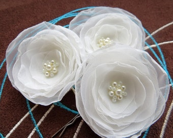 Ivory bridal hair flowers(set of 3), bridal hairpiece, bridal hair clips, wedding hair accessories, wedding hair flower