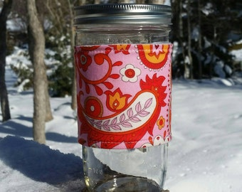 FREE SHIPPING UPGRADE with minimum -  Mason Jar cozy / mason jar sleeve / fabric jar cozy - Red Paisley in Pink