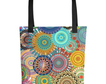 All Over Mandala Bright Colorful Tote Market Book Gym Bag
