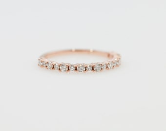 Diamond Anniversary Band, Diamond Wedding Band, Rose Gold Diamond Wedding Band, Gold Anniversary Band