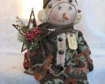Primitive Snowman Doll with Rustic Garland Doll E-Pattern