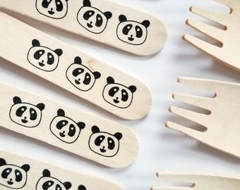 20 Panda Wooden Forks - Disposable Eco Friendly Wooden Utensils
